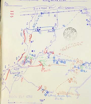 Olasz csapatok betöréseiről készült vázlat, amelyen jól játható, hogyan fenyegetik a 237-es magaslatot, és az előtte húzódó 3. védelmi vonalat