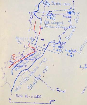 A 237-es magaslat közelében levő parancsnokságok a korabeli vázlaton