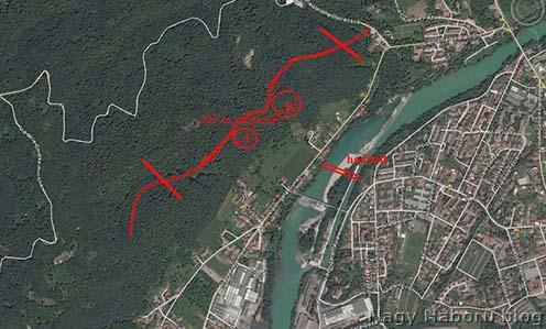 """A veszprémi népfelkelő zászlóalj védővonala mai műholdas térképre vetítve valamint az """"A"""" és """"B"""" kavernák helye"""