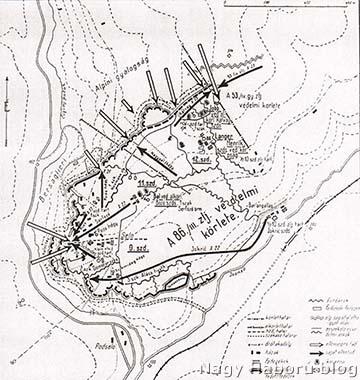A cs. és kir. 86/III. zászlóalj védelmi állásának vázlata a 3. isonzói csata során (1915. október 16-a és november 7-e között) Selonál, a tolmeini hídfőben