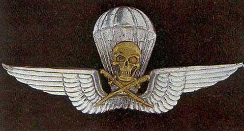 A Magyar Királyi Honvédség ejtőernyős jelvénye a rohamcsapatok szimbolikájából átvett koponyával