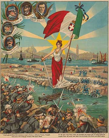 A Piave-vonal sikeres megvédését ünneplő olasz propaganda plakát