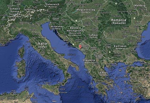 A Kotori-öböl (Boka Kotorska vagy Bocche di Cattaro) elhelyezkedése