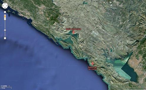 Petrovac (Castellastua) mai térképen