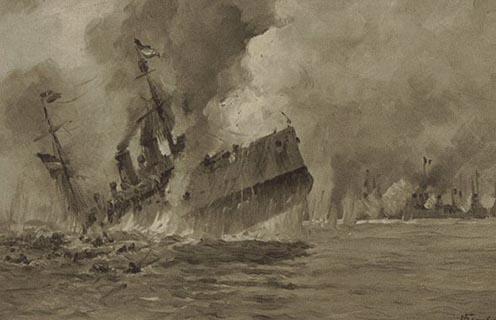 A Zenta elsüllyedésének művészi ábrázolása korabeli képeslapon