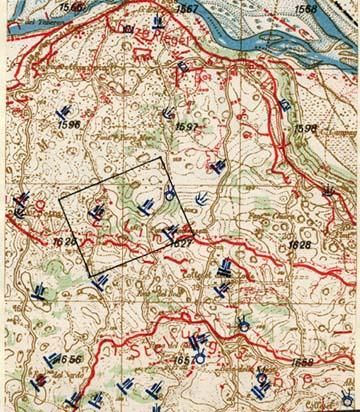 A Piave és a Montello hálózatos térképének részlete az osztrák légi felderítés alapján