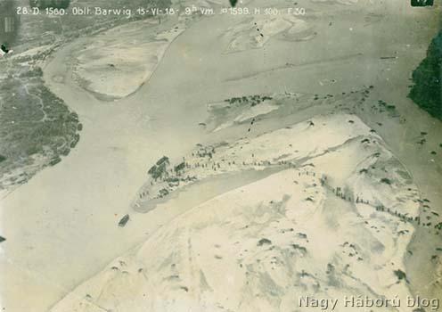 1918. június 15-én 9 órakor Barwig főhadnagy által a piavei átkelésről készített légifelvételek