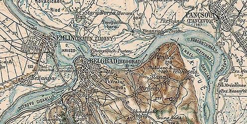 Belgrád és a szóban forgó terület egy 1897-es térképen