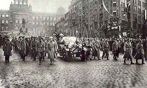 A légionáriusok felvonulása Masarykkal Prágában, 1918. december 21.