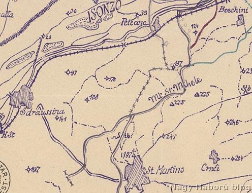 Egykori ösvények a Monte San Michele nyugati lejtőin (szaggatott vonalak)