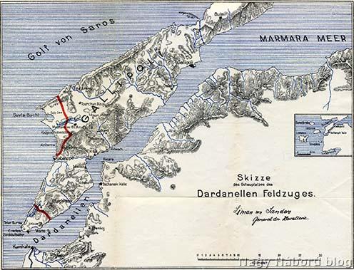 A Dardanellák 1915 őszén és telén, pirossal jelölve a félszigeten az angolok által megszállt két terület határát