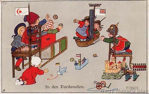 Mese gyermekeknek: osztrák–magyar hadihajó támadja a francia flottát a Dardanelláknál. Az Adriai és Földközi tenger angol blokádja miatt ez csak vágyálom volt, de a jobb alsó sarokban már bevetésre vár egy osztrák–magyar löveg…