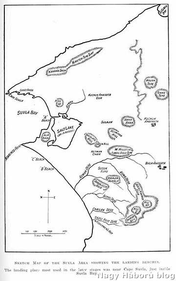 Az Anafarta-front vázlatos térképe