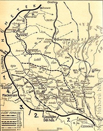 A gorlice-tarnówi offenzíva nyomán 1915. november 1-ig elfoglalt területek