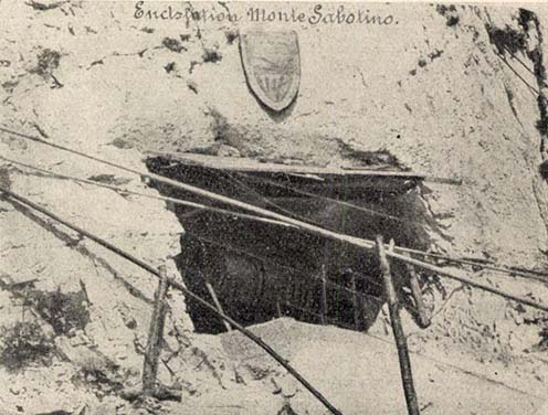 Monte Sabotino, felvonó korabeli képen