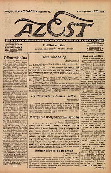 Az Est címlapja 1916. augusztus 10-én