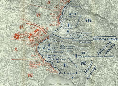 A csapatok helyzete a második isonzói csata kezdetén