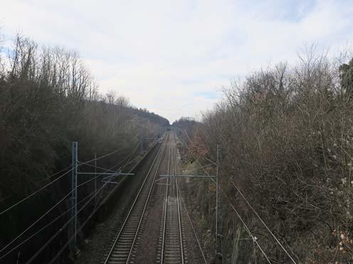A vasútvonal napjainkban, ahonnan egykor a kerékpáros alakulat katonái támadásra indultak