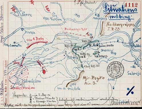 Kerékpáros zászlóalj helyzete 1915. július 30-án