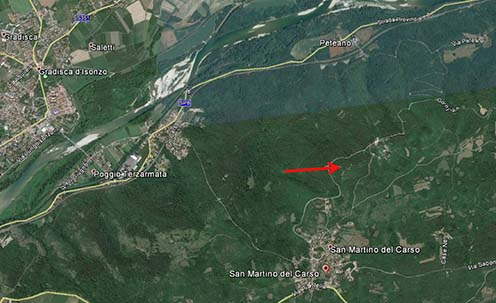 A Biene 11 helye mai műholdas térképen a Monte San Michele déli lejtőjén