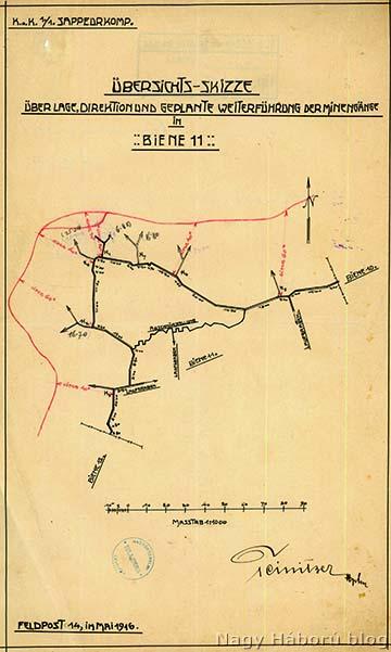 Aknajáratok a Biene 11-ben, 1916 májusában