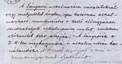 Részlet Stadler István ezredes feljegyzéséből