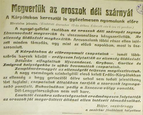 A Sajtóhadiszállás 1914. december 13-ai hivatalos jelentése (az ún. Hőfer-jelentés) a limanovai győzelemről
