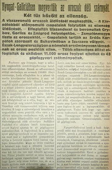 Részlet a Pesti Hírlap 1914. december 14-ei számának címlapjáról
