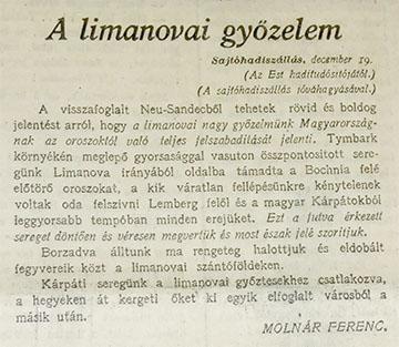 Az Est 1914. december 20-ai számának vezérhíre