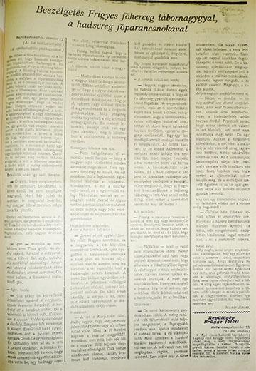 Molnár Ferenc interjúja Frigyes főherceggel Az Est 1914. december 24-ei számában