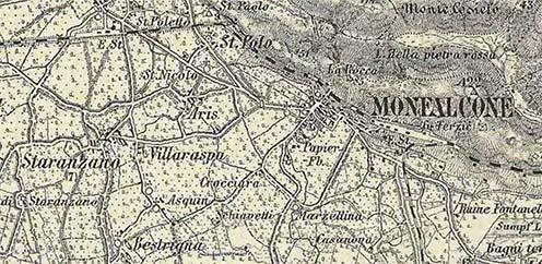 Monfalcone és környéke a III. katonai felmérés térképén