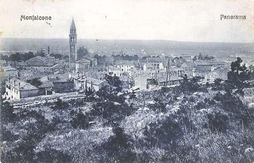 Monfalcone panorámája kelet felől korabeli képeslapon