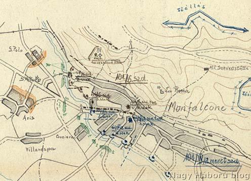 Olasz csapatok felzárkózása a Dottori-csatornához (zöld színnel jelölve)