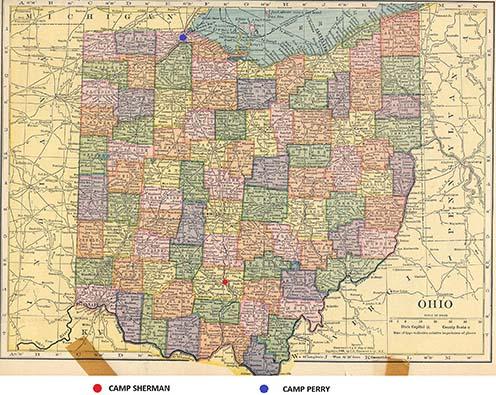 Camp Sherman és Camp Perry Ohio korabeli térképén