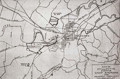 Chillicothe és környéke térképvázlata Camp Sherman feltüntetésével