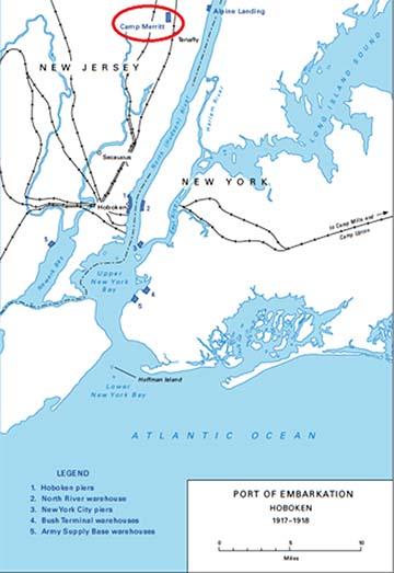 A kikötő Hoboken, New Jersey partjánál, Camp Merritt feltüntetésével