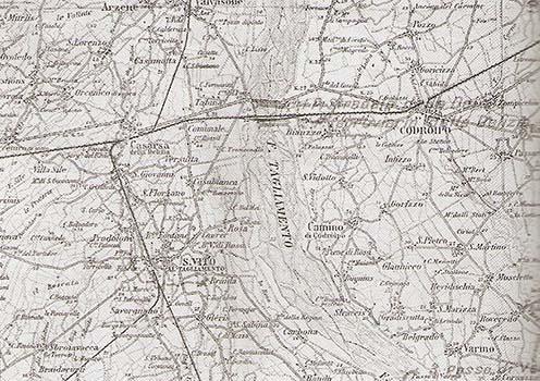 A Tagliamento folyón történt átkelés térképvázlata