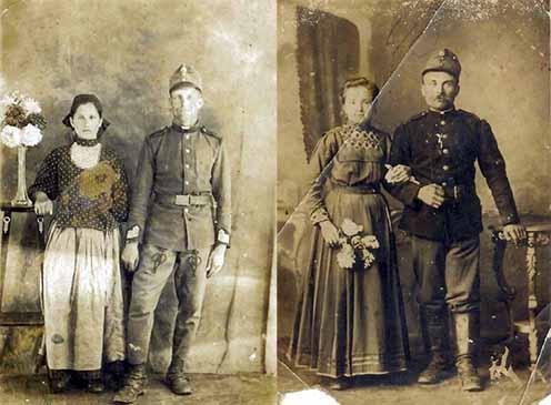 """""""Rosseb""""-bakák bevonuláskor: a bal oldali képen Jancsikics Mihály és felesége, Nyári Rozália, a jobb oldalin Molnár Károly, valamint felesége, Szárnyasi Ilona látható 1914-ből"""