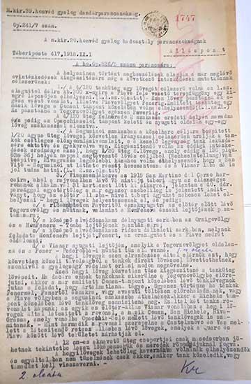 1918. szeptember 1.: a terepbejárás utáni jelentés