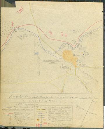 Kókay László vázlata a császári és királyi szegedi 46. gyalogezred San Martino del Carso előtt lévő állásairól 1916. március havában. A vázlat bal oldalán látható a 197-es magaslat, amelynek a bal oldalán volt az említett 21-es védelmi szakasz
