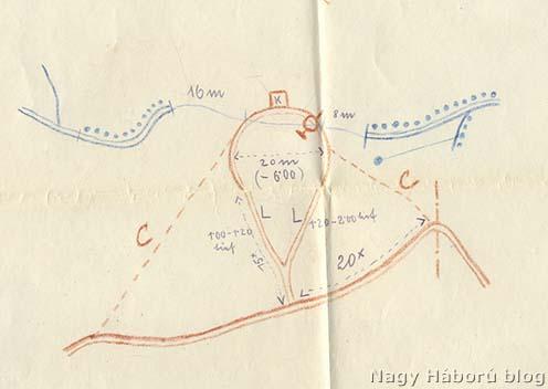 Heim Géza vázlata az aknatölcsér elhelyezkedéséről 1916. május 8-án reggel 6 órakor