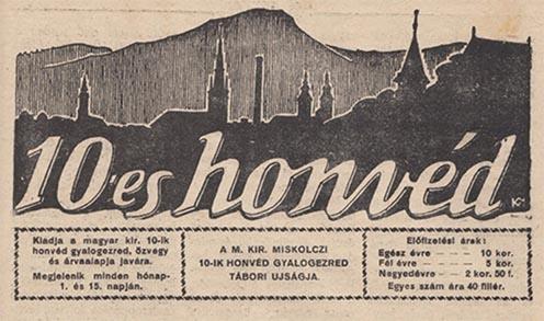 A miskolci honvédek tábori újságjának fejléce