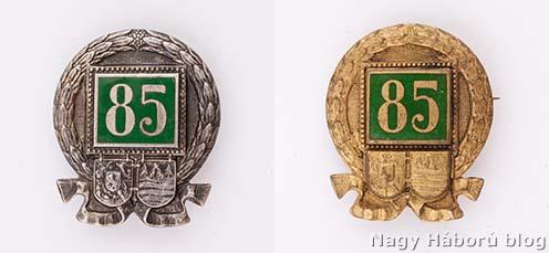 A császári és királyi máramarosszigeti 85. gyalogezred jelvényének két változata