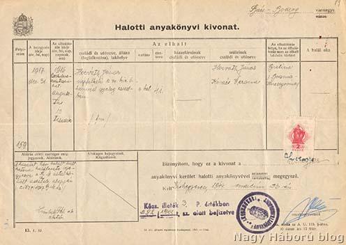 Horváth János moholi származású, a m. kir. szabadkai 6. honvéd gyalogezredhez tartozó népfelkelő 1944-ben készült halotti anyakönyvi kivonata, aki 1916. augusztus 10-én 41 éves korában Bijeljinán (Bosznia) hunyt el.