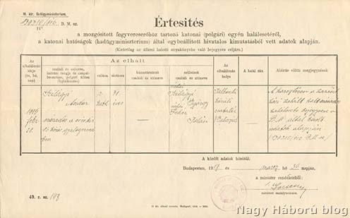 A Belügyminisztérium hivatalos értesítője Szilágyi Andor cs. és kir. 86-ik gyalogezredbeli százados hősi haláláról, aki 1915. február 28-án az orosz hadszíntéren esett el.