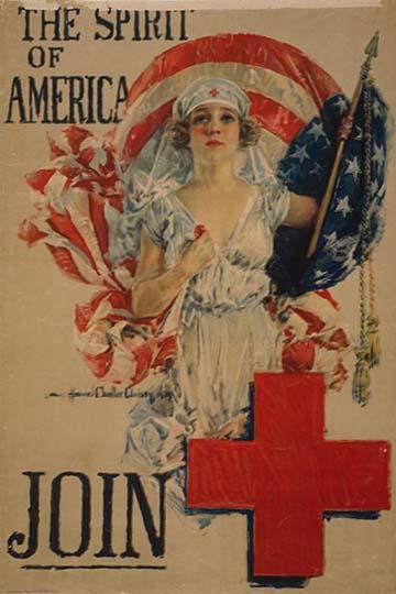 Az amerikai nőket a Vöröskereszthez történő csatlakozásra buzdító plakát a Nagy Háborúban