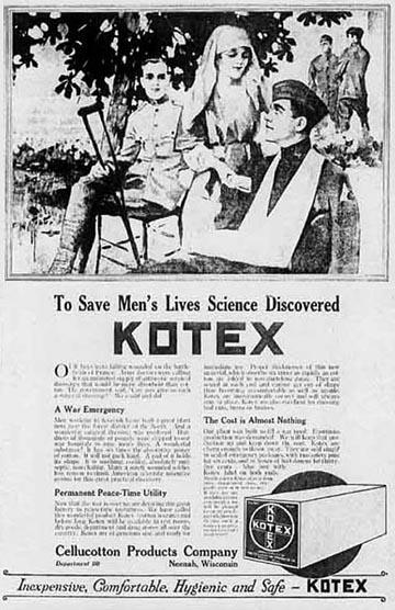 """Kotex reklám sebesült katonák képével – """"A férfiak életének megmentésére a tudomány felfedezte a Kotexet"""""""