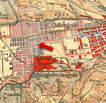 A vasgyári futballpálya helye piros nyíllal jelölve egy 1937-es miskolci térképen
