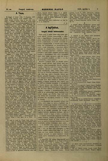 A Szegedi Napló 1915. április 4-ei számának beszámolója a helyi diákok bevonulásáról