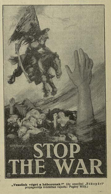 """""""Vessünk véget a háborúnak!"""" A Nő című országos feminista lap illusztrációja 1915-ből"""